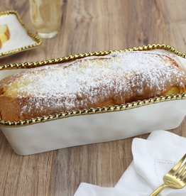 White & Gold Loaf Baking Dish