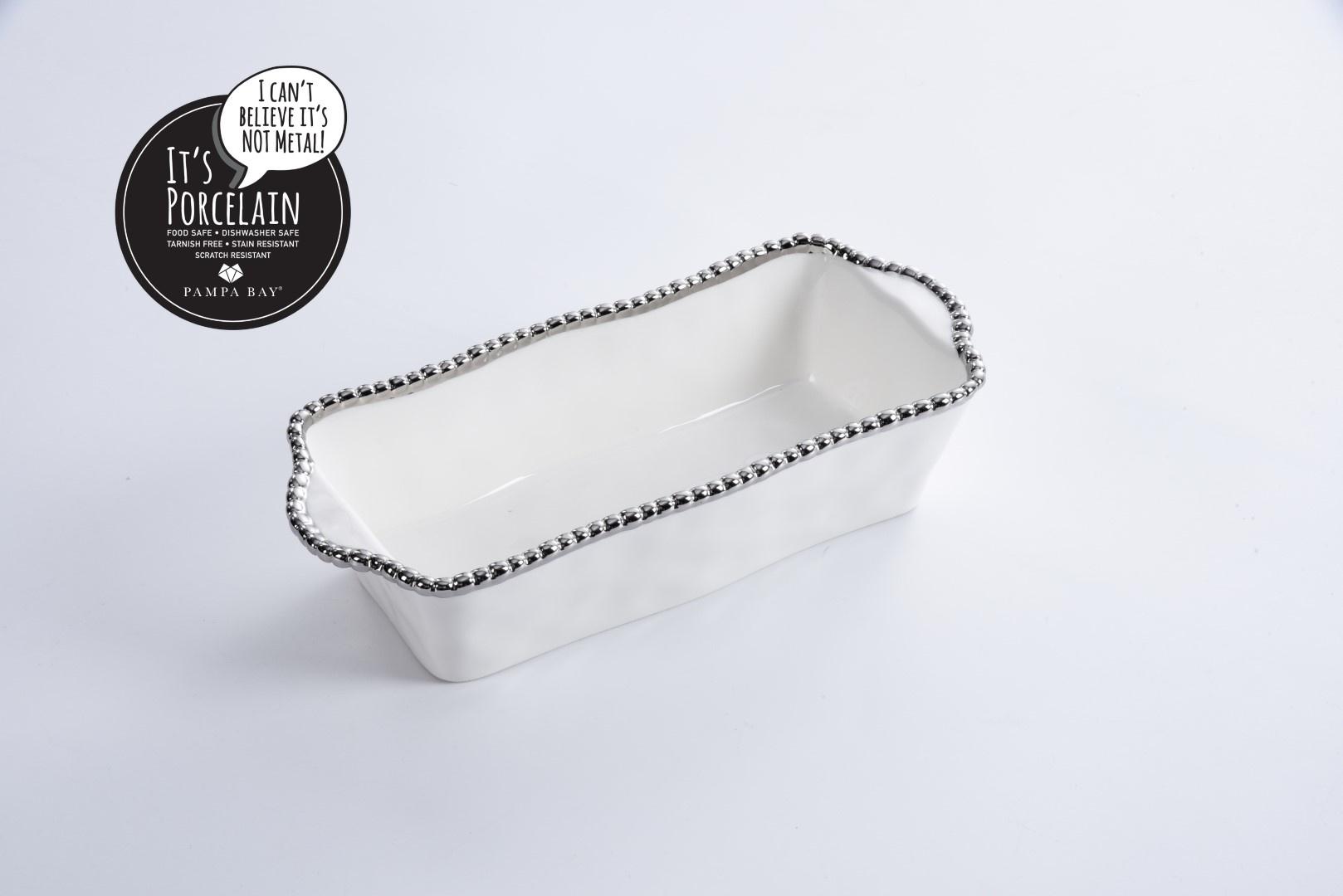 White & Silver Loaf Baking Dish