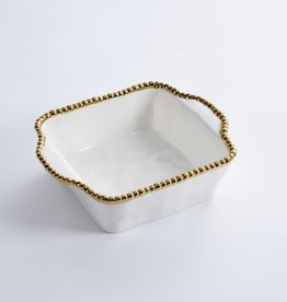Beaded Ceramic White & Gold Square Baking Dish