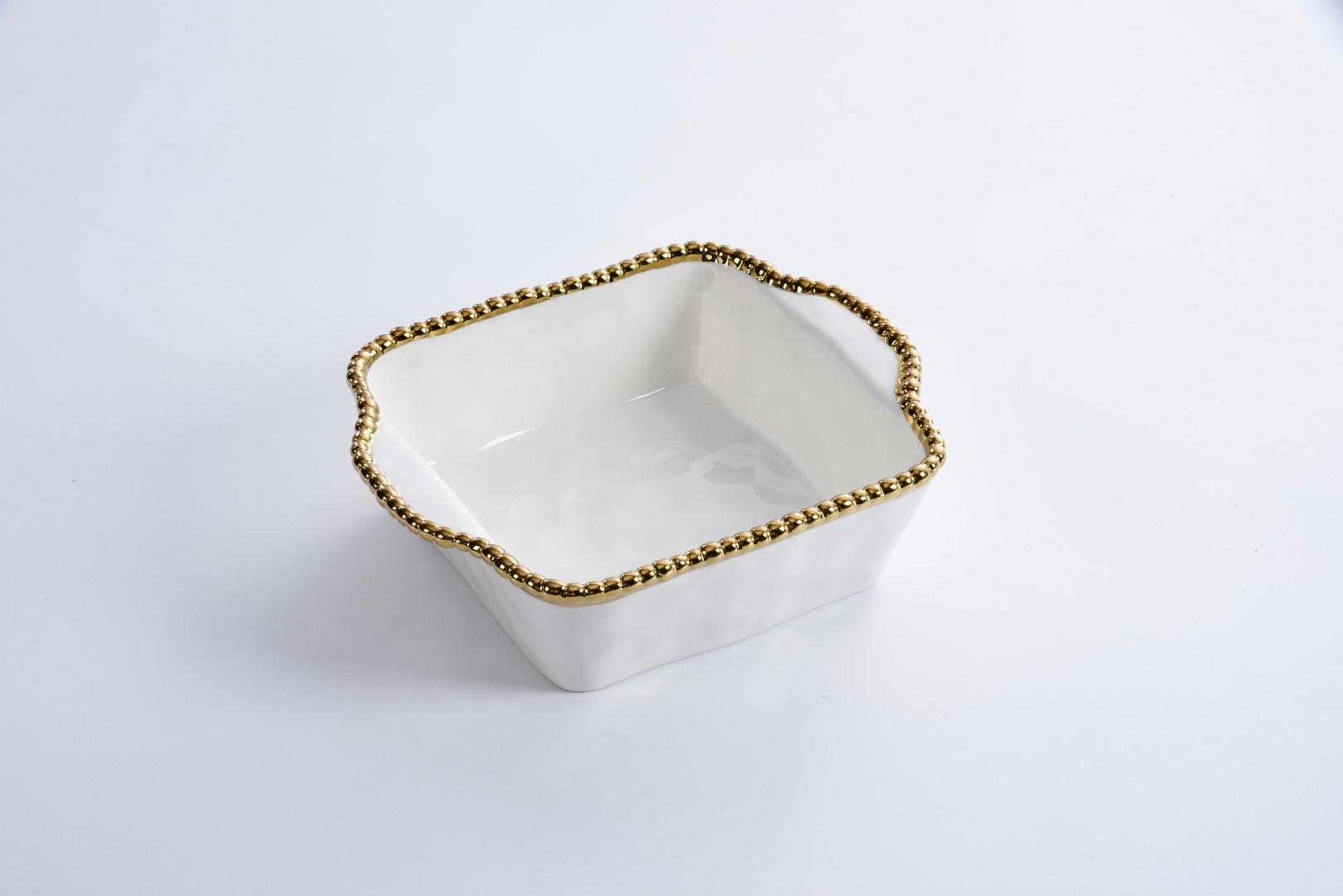 Beaded Ceramic White & Gold Square Baking Dish