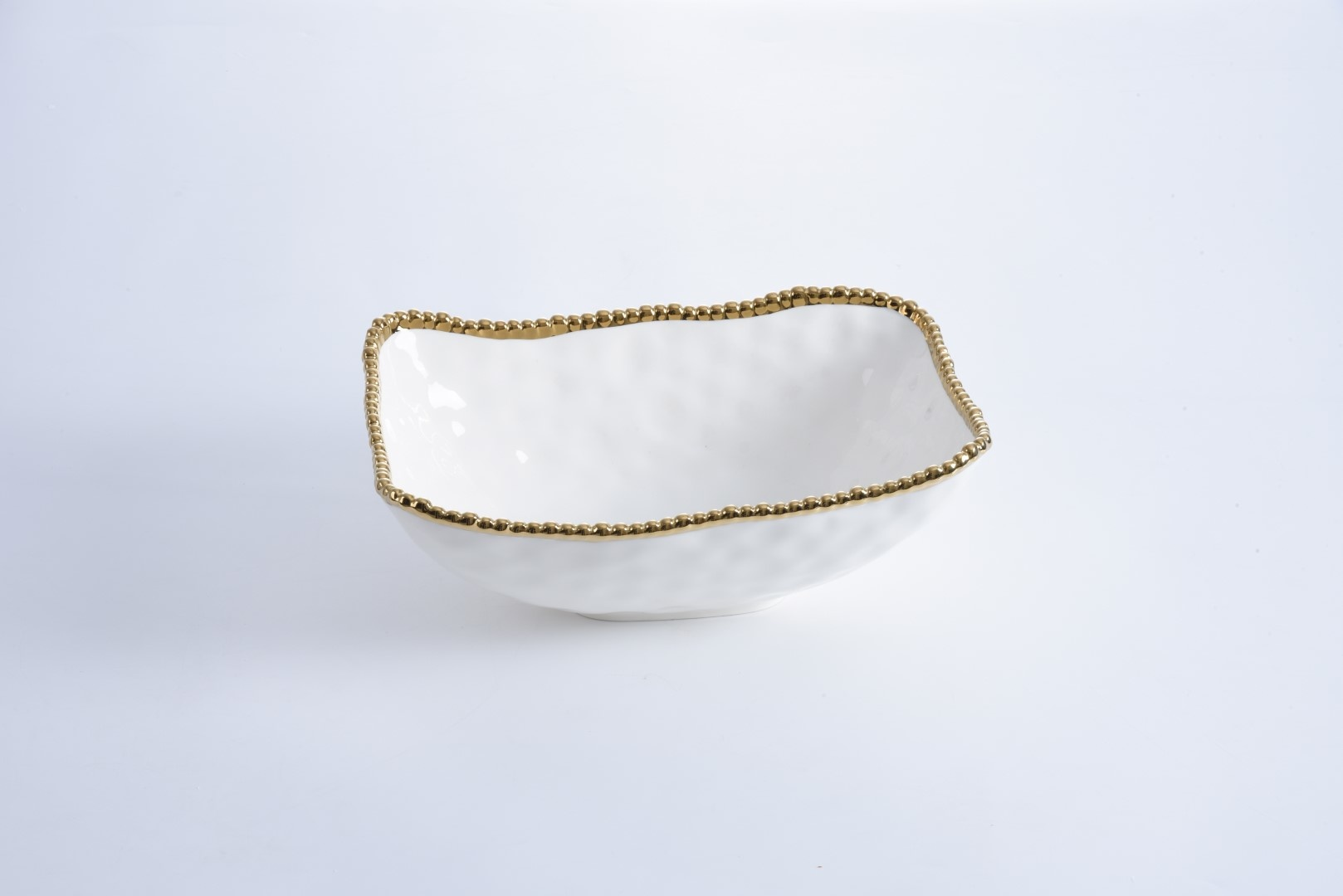 White/Gold Deep Serving Bowl