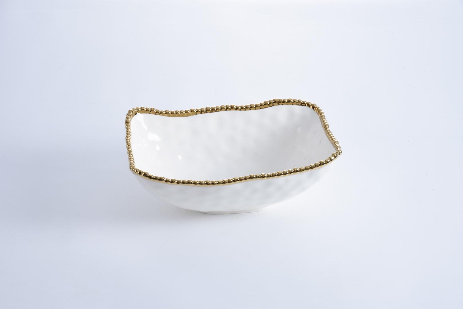 White/Gold Deep Serving Bowl