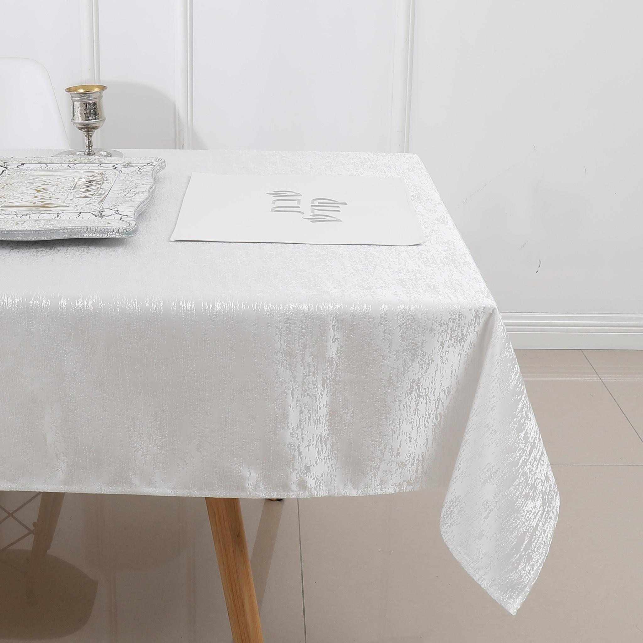 TC1324- 70 x 120 Jacquard Off White Tablecloth