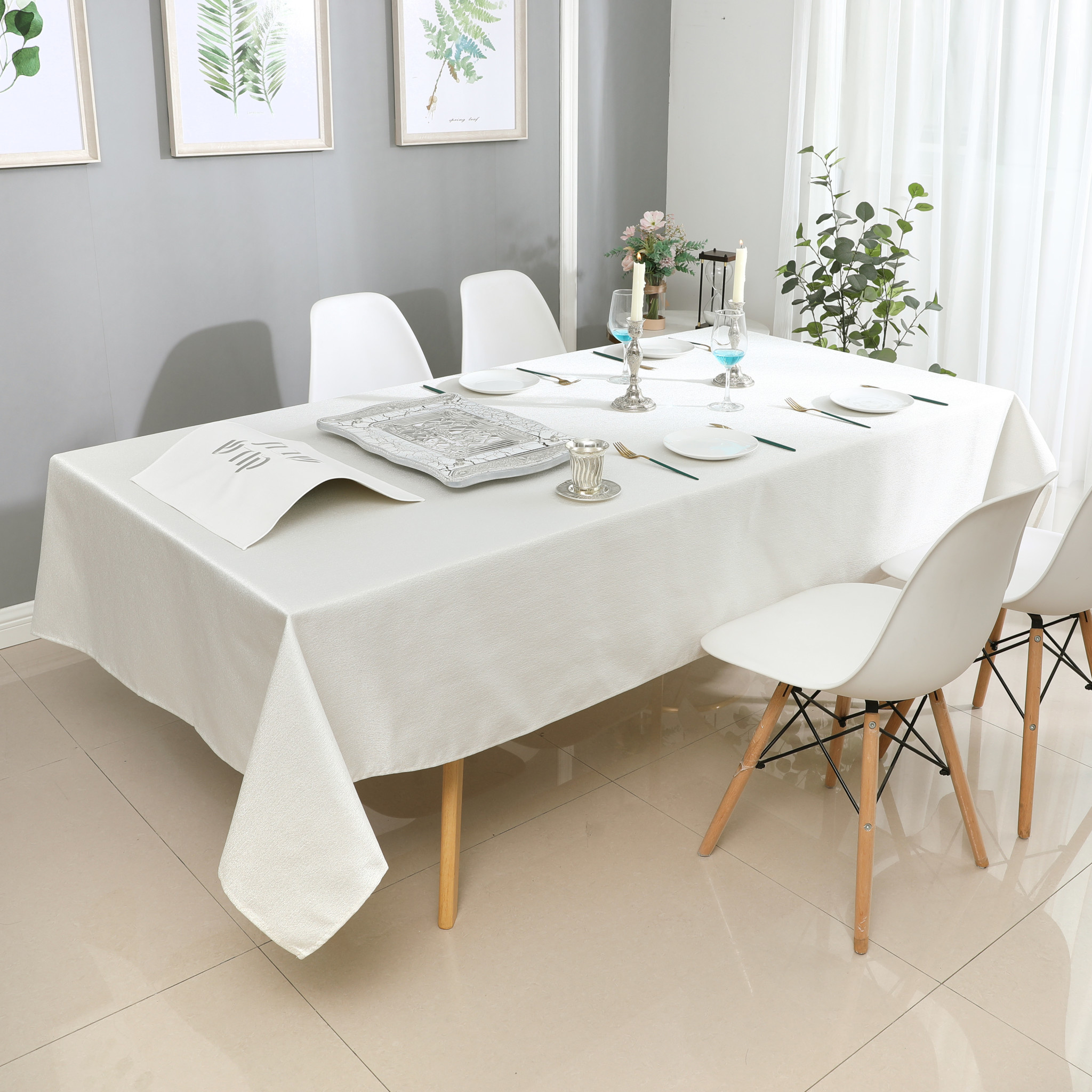 TC1326- 70 x 160 Jacquard White Silver Tablecloth