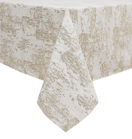 TC1402 - Mosaic White Gold Print 70 x 108 Tablecloth