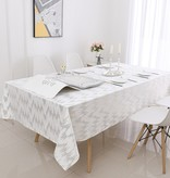 TC1400- 70 x 160 White Dotted Gold Foil Print Tablecloth