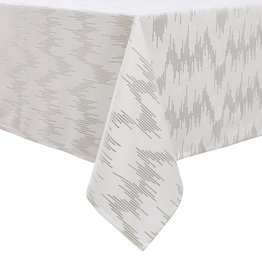TC1400- 70 x 120 White Dotted Gold Foil Print Tablecloth