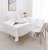 TC1401- 70 x 160  White Dotted Silver Foil Print Tablecloth
