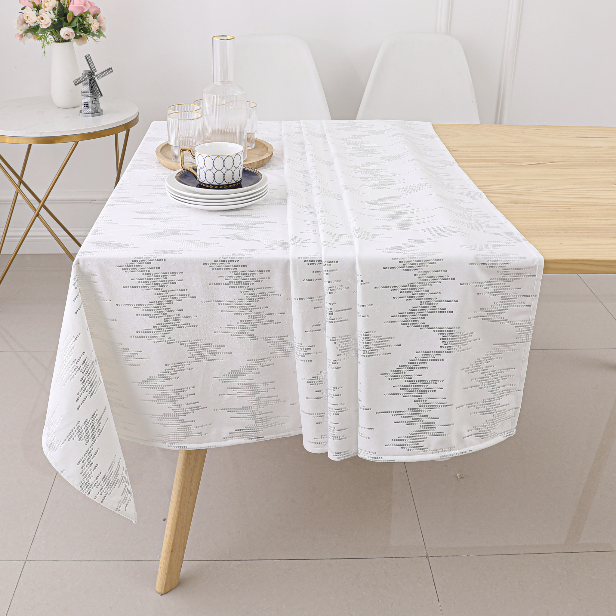 TC1401- 70 x 120 White Dotted Silver Foil Print Tablecloth