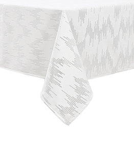TC1401- 70 x 144  White Dotted Silver Foil Print Tablecloth