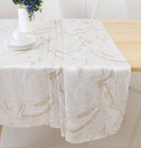 TC1327- 70 x 120 Jacquard White Gold Wave Tablecloth