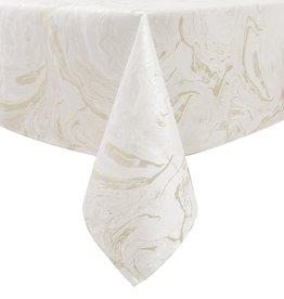 TC1327- 70 x 120 Jacquard White Gold Wave Tablecloth