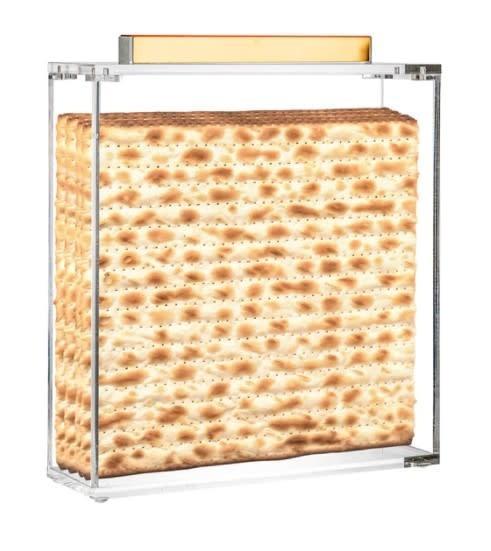Metal Gold Lucite Square Matzah Box