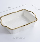 Beaded Ceramic Rectangular White & Gold Baking Dish
