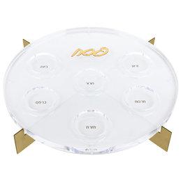 Metal Seder Plate White/Gold
