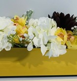 """18"""" Gold Mirror Vase With Yellow/White Assorted Flowers"""