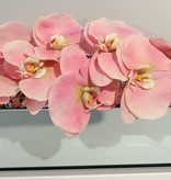 """18"""" Mirror Vase with Arched Light Pink Orchid"""