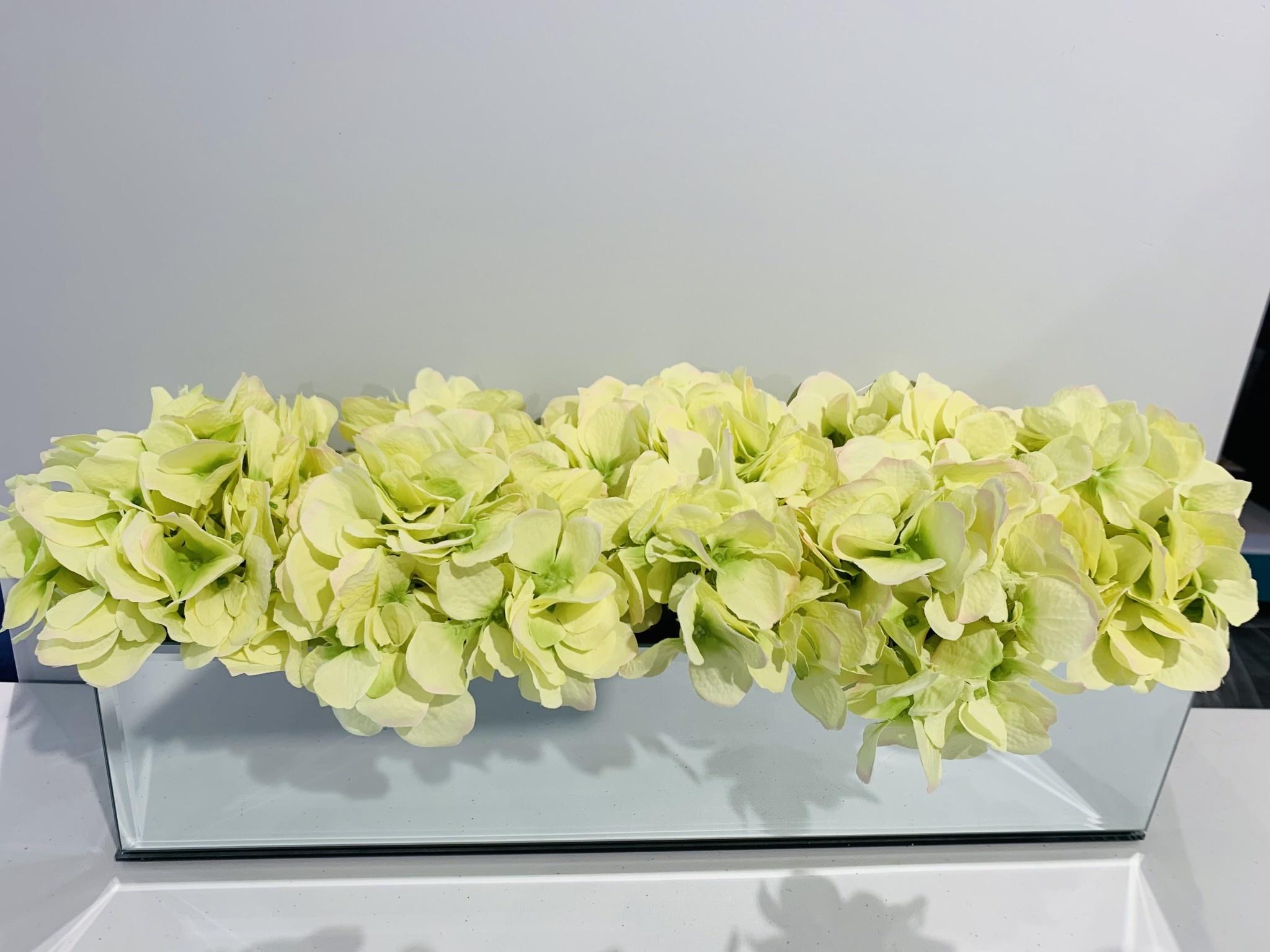 "18""  Mirror Vase With Green Hydrangeas"