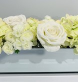 """18""""  Mirror Vase With Green/White Assorted Flowers"""