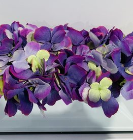 """12"""" Mirror Vase with  purple/green assorted flowers"""