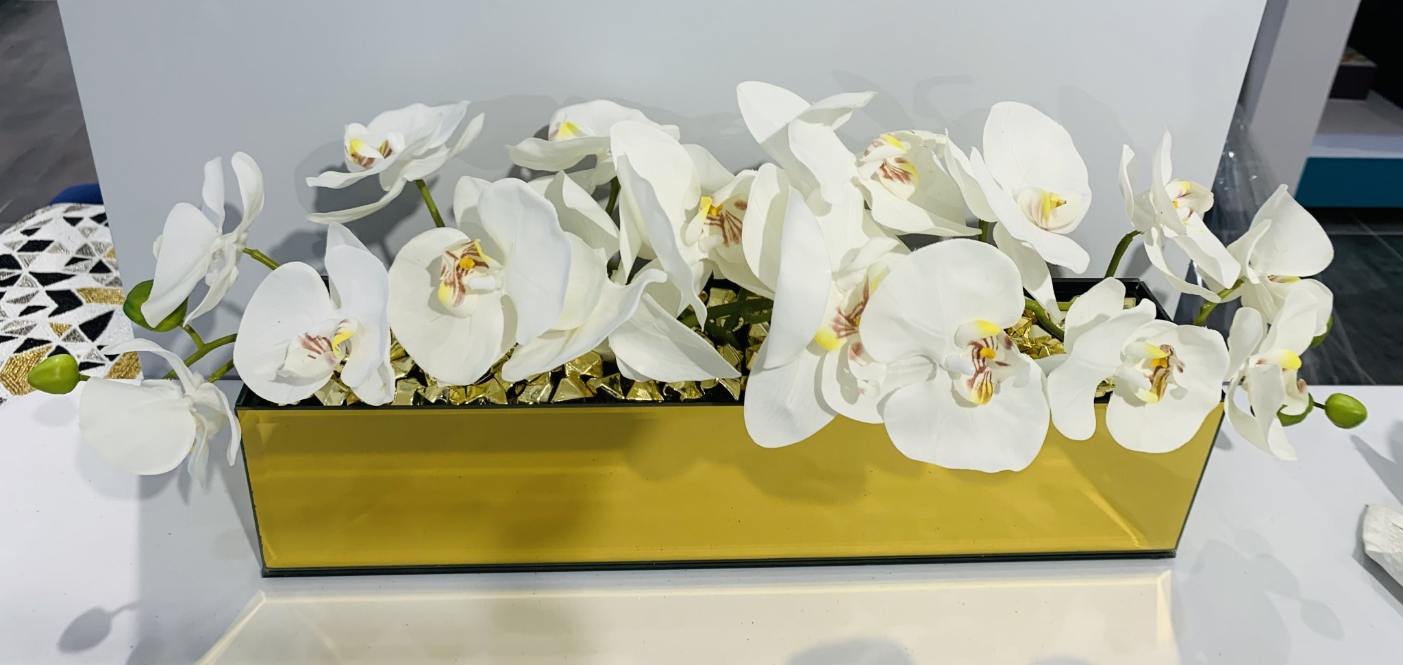"""18"""" Gold Mirror Vase with Arched White Orchids"""