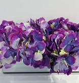 "12"" Mirror Vase with Green/Purple Hydrangeas"