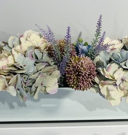 """18"""" Mirror Vase With Blue/Purple Assorted Flowers"""
