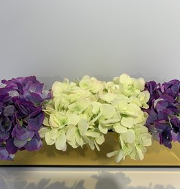 "18"" Gold Mirror Vase With Green/Purple Hydrangeas"