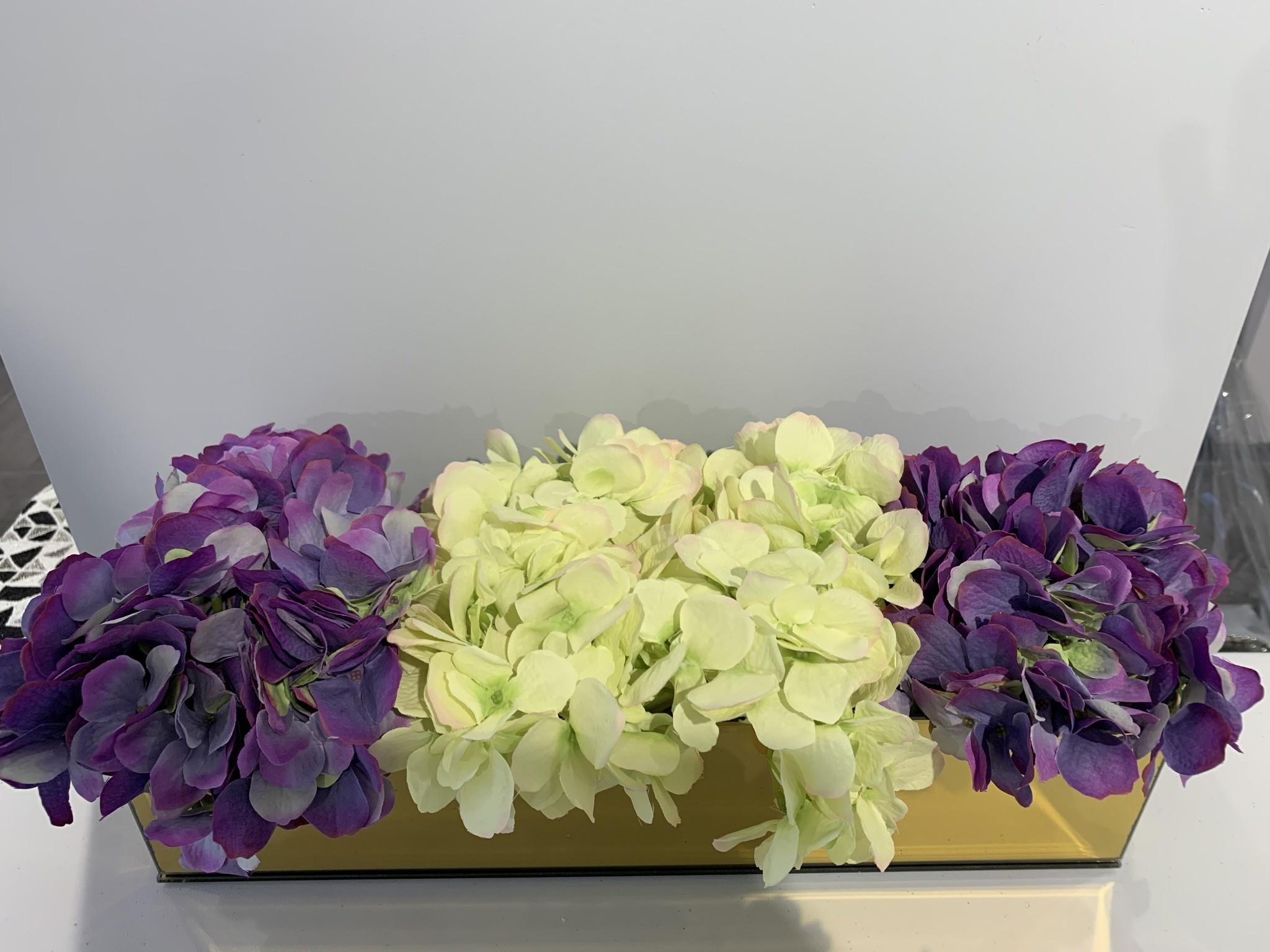 "18"" Gold Mirror Vase With Green/Purple Hydrangeas"