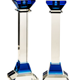"12"" Blue Square Crystal Candlesticks"
