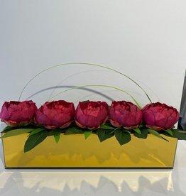 "18"" Gold Mirror Vase with Peonies"