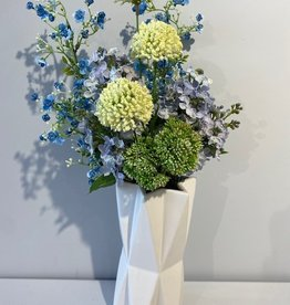 Ceramic White Star Vase With Blue/Green Flowers