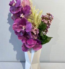 Ceramic White Star Vase With Purple Flowers
