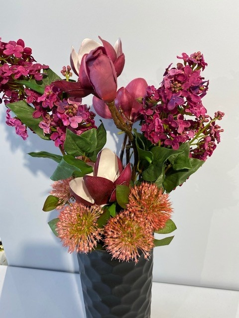 Ceramic Black Vase With Maroon Flowers