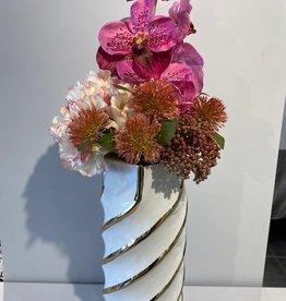 Aurora Gold Swirl Large Vase With Flowers