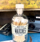 Glass Apothecary Bottle of Matches with Cork Stopper White