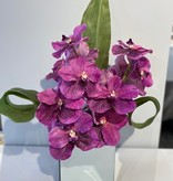 """6"""" Mirror Cube with Purple Orchids"""