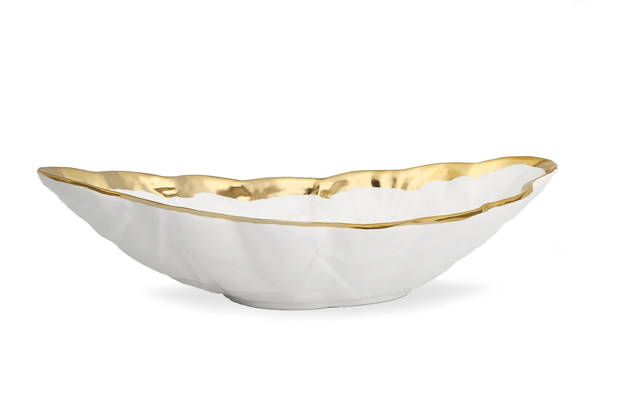 White Deep Oval Shaped Bowl With Gold Rim