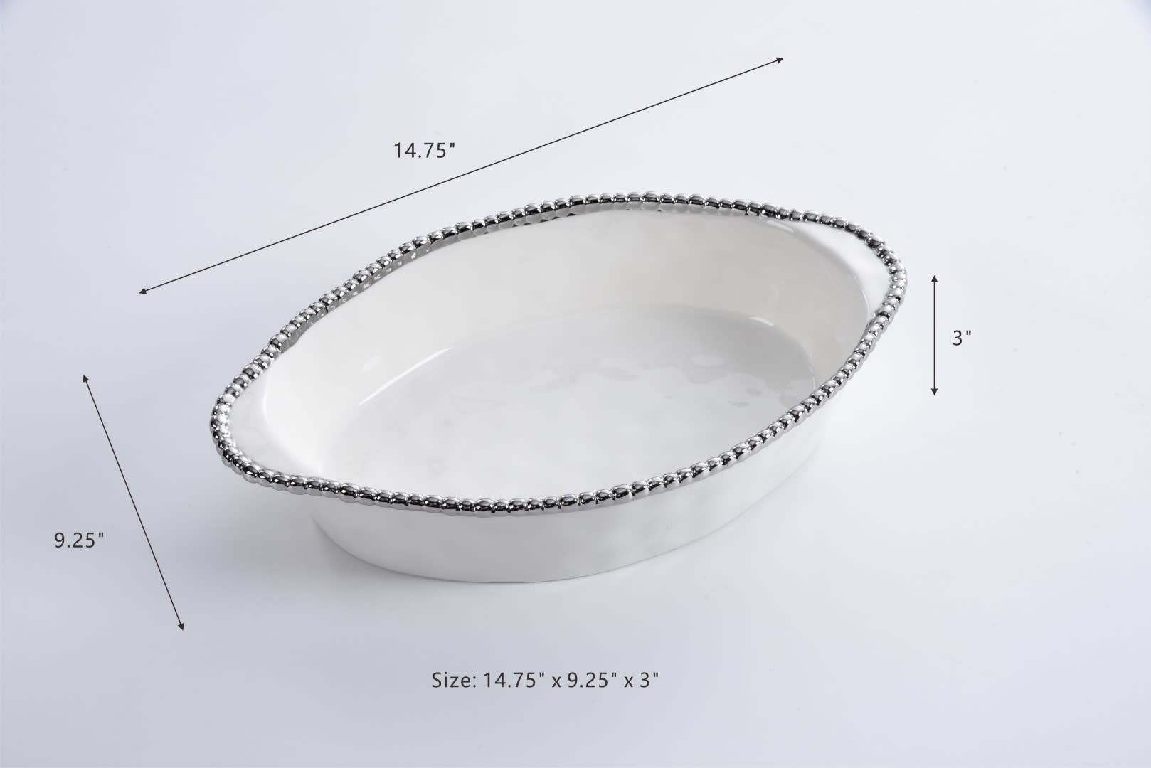 Oval White/ Silver Baking Dish