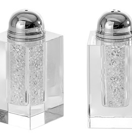 Crystal Salt & Pepper Shakers w Stones