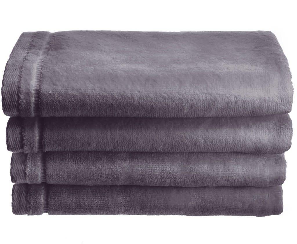 Grey Cotton Velour Set of 4 Towels