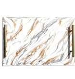 Resin Tray White/Grey and Gold