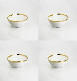 Small White Dip Bowl With Gold Rim