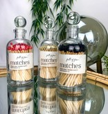 Glass Apothecary Bottle of Matches with Glass Ball Stopper Black