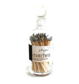 Glass Apothecary Bottle of Matches with Glass Ball Stopper Gray