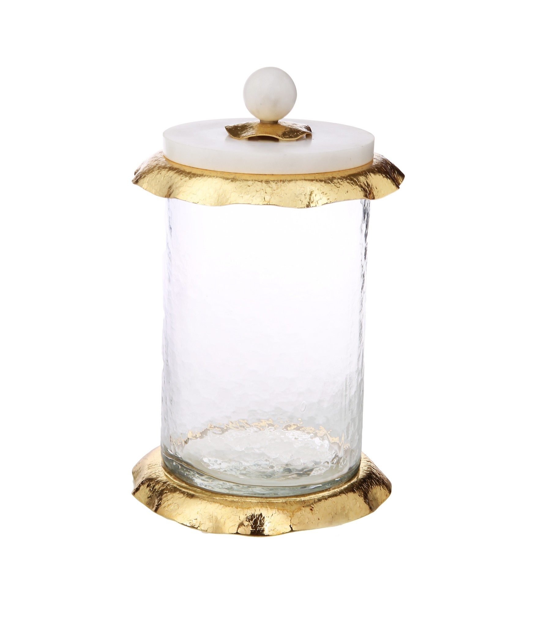 Medium glass canister w/ marble & Gold Glass lid
