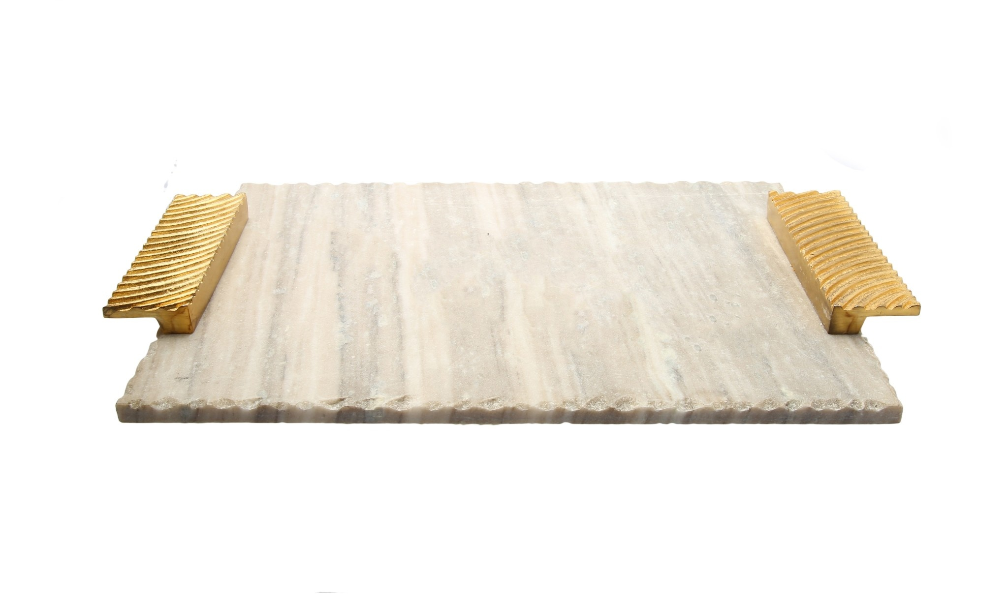 Grey marble challah Board w Gold Wave Handle