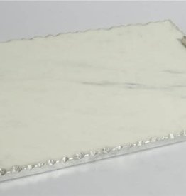 White marble challah Board w Silver Wave Handle