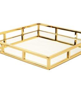 15.75 Square Gold Mirror Tray