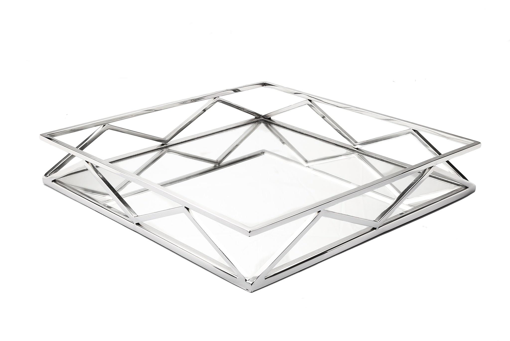 Square Mirror Tray With V Design